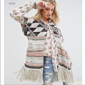 Denim & Thread Ralph Lauren Aztec Fringe Shawl M/L